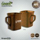 Caneca quadrada Green Coco - Sustent�vel, com 50% de Fibra Natural de Coco, at�xico, resistente a microondas e m�quina de lavar, capacidade de 250 ml