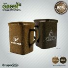 Caneca quadrada Green Madeira Sustent�vel, 50% de Fibra Natural de Madeira de Reflorestamento, at�xico, resistente a microondas e m�quina de lavar, 25...