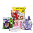 Cesta Maternidade Especial Menina - Caixa papelão na cor branca, 01 pacote Fralda Pampers tam. P, 01 pacote lenços umedecidos Johnson, 01 caixa com 12...