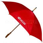 Guarda chuva com cabo de madeira, 120cm diâmetro e acionamento automático. Disponível em várias cores.
