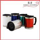 BB Brindes e Acess�rios - Caneca de alum�nio e acr�lico com cabo preto e tampa rosque�vel capacidade para 400ml. Dimens�o: 11,5 x 27,5 cm
