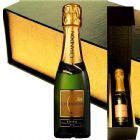 Mini champagne Chandon Baby 187ml, na caixa rígida de cartonagem, fechamento com imã e personalização na tampa da caixa.