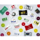 Bala promocional personalizada. Disponível em 4 tipos de embalagens e sabores sortidos