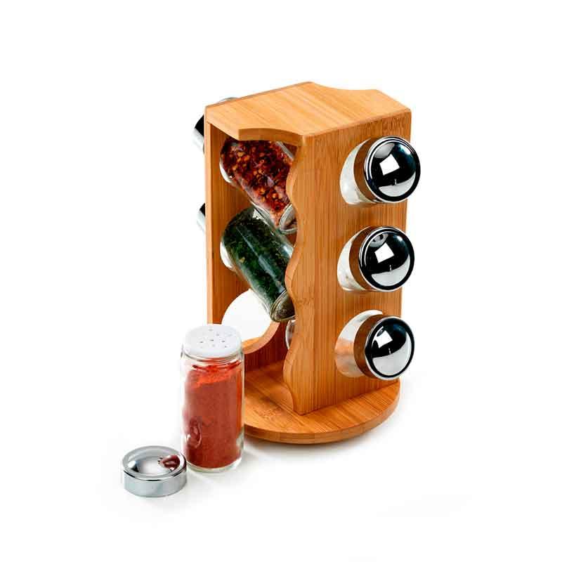 Porta condimentos girat rio personalizado em bambu com 06 for O que e porta condimentos