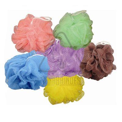Sena Brindes - Esponja de banho em Nylonl, cores variadas. Opcional - cordão, etiqueta  ou  tag com a marca do cliente