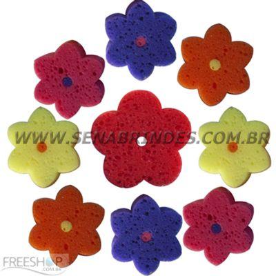 Sena Brindes - Esponja de banho com formato de flor com 5 ou 6 pétalas.
