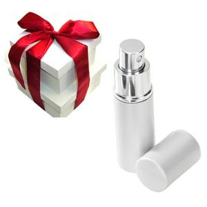 Sena Brindes - Porta perfume prateado.