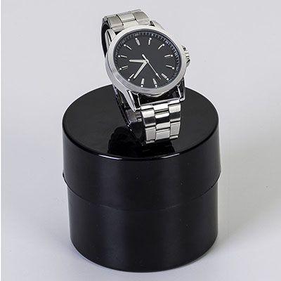 Mirus Relógios - Relógio de pulso masculino com mostrador preto, pulseira de metal, movimento Quartz