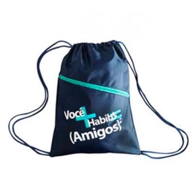ato-produtos - Mochila em nylon com cordão e gravação personalizada.