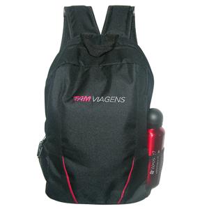 ato-produtos - Mochila em poliéster com gravação personalizada e compartimento para notebook.