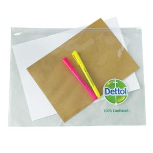 ato-produtos - Pasta zip em PVC cristal com gravação personalizada.