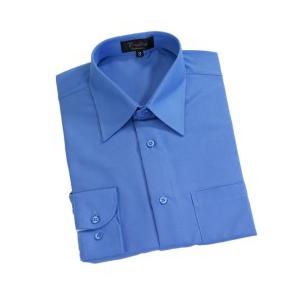 Camisa social em microfibra na cor azul de manga longa com bolso e gravação  personalizada. 853f8dc619d7d