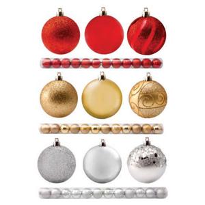 Brinde Natalino - Tubo com Bola mista decorada fosca, cores prata/vermelho/dourada, tamanhos diversos
