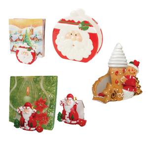 brinde-natalino - Porta Guardanapo Papai Noel em Poliresina