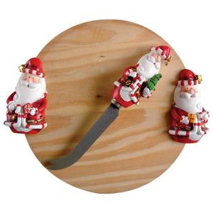 brinde-natalino - Tabua p/ Frios 20cm com Faca Papai Noel