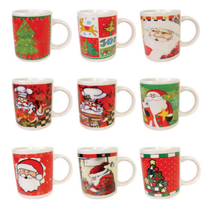 brinde-natalino - Caneca produzida em louça branca decorada com diversas estampas, estilo americana com capacidade para até 310 ml e alça. Dê um toque de charme e sofi...