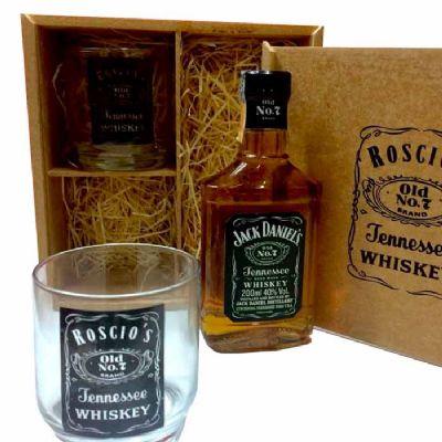 Print Maker - Estojo em mdf natural 2 copos de vidro whisky garrafa Jack Daniels