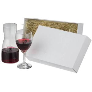 Decanter de vidro com taça de vinho, em caixa Triplex.
