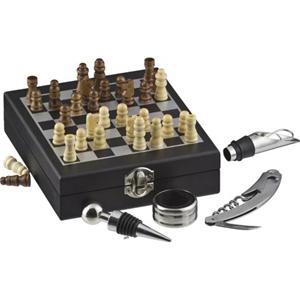 print-maker - Kit vinho com jogo de xadrez e 4 acessórios de vinho.
