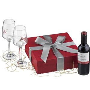 Kit com 2 taças de vidro e garrafa de vinho 375 ml. - Print Maker