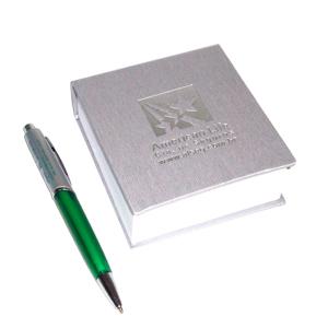 CZK brindes - Bloco de anotação personalizado com caneta.