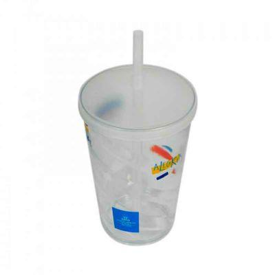 comercial-sisters - Copo p.s. cristal 700 ml com tampa e canudo