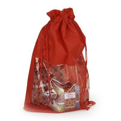 Embalagem - Embalagem personalizada em TNT, com visor em PVC e cordão. Pode ser feita em qualquer tamanho, tecido e cor.