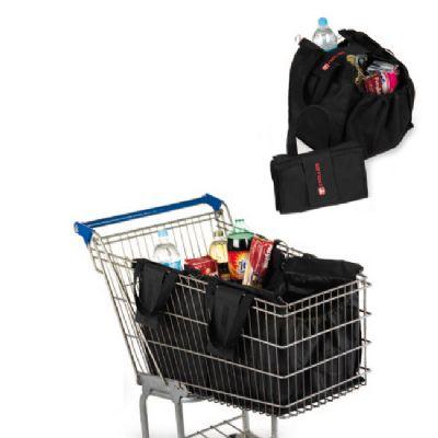 embalagem - Sacola personalizada de mercado que prende no carrinho. Duas sacolas são o suficiente para preencher todo o carrinho normal de mercado.