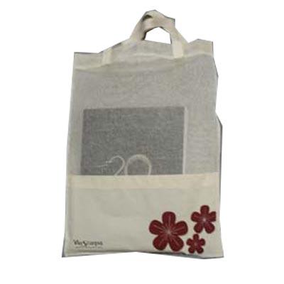 embalagem - Sacola personalizada em tela com bolso em algodão cru. Pode-se alterar cor, material e tamanho.