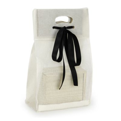"""Embalagem - Sacola personalizada em telado ecológico, com boca estruturada e fita. Fácil de carregar e com """"cara"""" de presente. Pode ser feita em qualquer tamanho."""