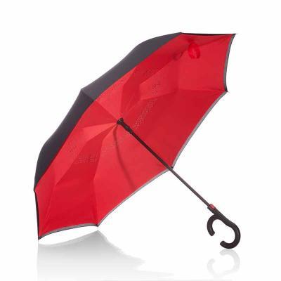 Guarda-chuva invertido com cabo plástico e haste de metal, botão acionador para abertura automáti...