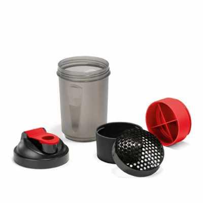 Shaker com 2 compartimentos para guardar suplementos adicionais - Marca Laser