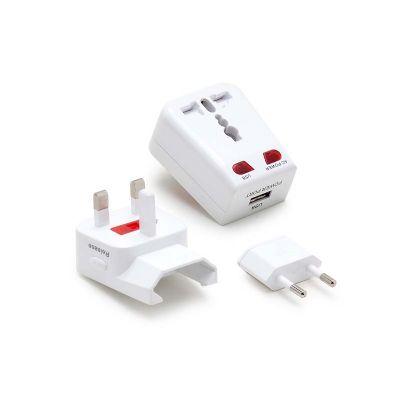 marca-laser - Adaptador universal personalizado para viagem com entrada USB, pinos retráteis e bivolt.
