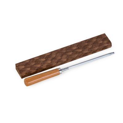Marca Laser - Afiador de facas para churrasco, em bambu/ inox