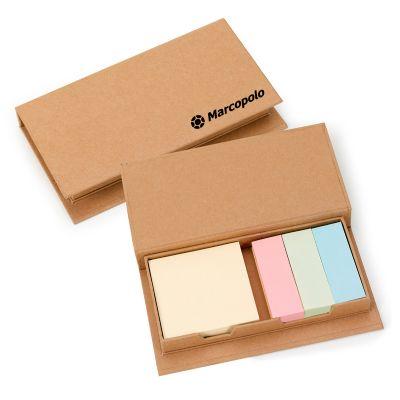 marca-laser - Caixa personalizada em papelão reciclado, com 4 blocos de auto colantes coloridos (150 folhas cada).