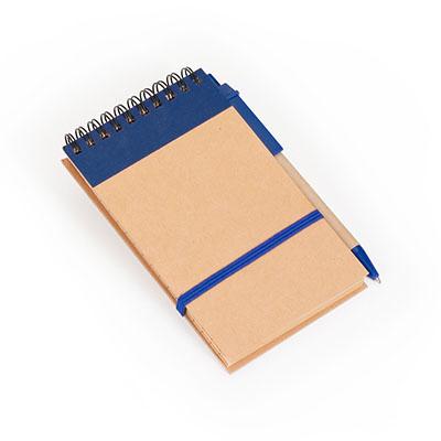 Marca Laser - Bloco de anotações capa em papel reciclado 80 folhas em papel Kraft pautado e elástico para fechamento. Acompanha caneta em papelão reciclado rígido