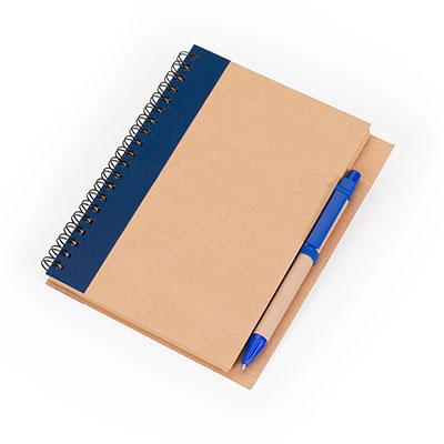 marca-laser - Caderneta de anotações capa em papel reciclado, com 80 folhas em papel Kraft pautado, acompanha caneta