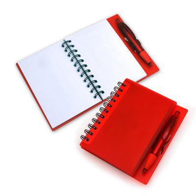 marca-laser - Caderno de anotações personalizado, em espiral (contendo 100 folhas brancas), com capa e caneta esferográfica em Polipropileno na cor vermelha.