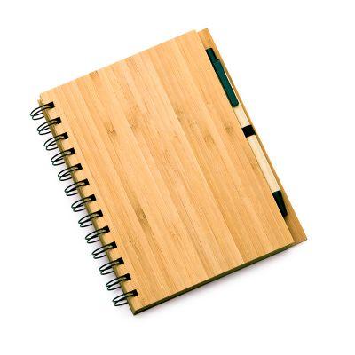 Marca Laser - Caderno de anotações personalizado, em espiral com capa em laminado de bambu (contendo 96 folhas em kraft pautado) e caneta esferográfica em papel rec...