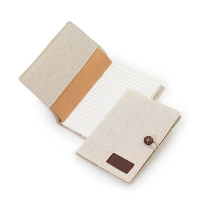 Marca Laser - Caderno de anotações capa em algodão cru, 100 folhas pautadas na cor creme