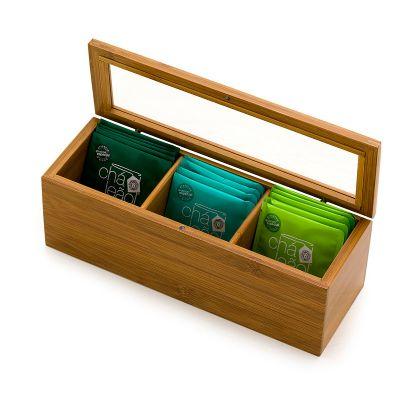 marca-laser - Caixa para chá em acrílico e 3 divisórias com 15 saquinhos de chá sortidos.