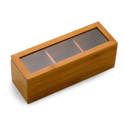 Marca Laser - Caixa em bambu - visor em acrílico e 3 divisórias, med. 240x 82x 85mm