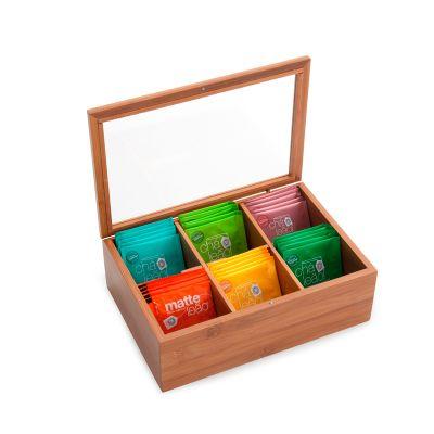 Caixa de chá personalizada em bambu, com visor em acrílico e 6 divisórias com 36 saquinhos de chá sortidos. - Marca Laser