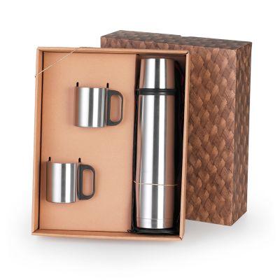 Marca Laser - Garrafa térmica em aço inox 1L com tampa e 02 canecas 200ml em aço inox com caixa para presente.