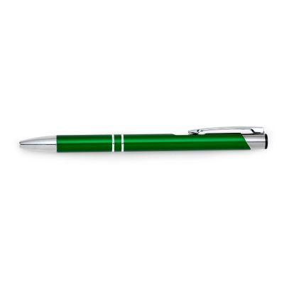 marca-laser - Caneta esferográfica personalizada em alumínio verde.