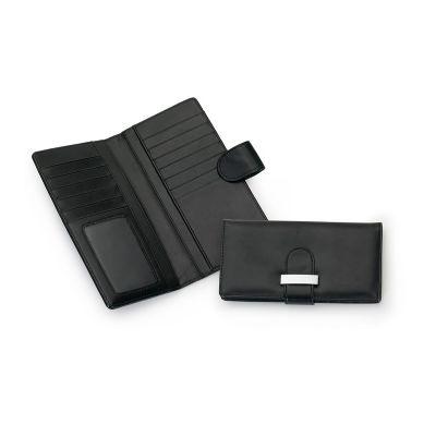 Marca Laser - Carteira feminina, feita em material sintético preto com 18 divisões, sendo 13 compartimentos para cartões, 4 compartimentos livres e um com visor em...