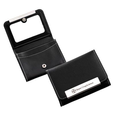Carteira de bolsa personalizada, confeccionada em material sintético preto com 3 divisões internas e espelho interno na aba frontal. Medidas: 105 x 80... - Marca Laser