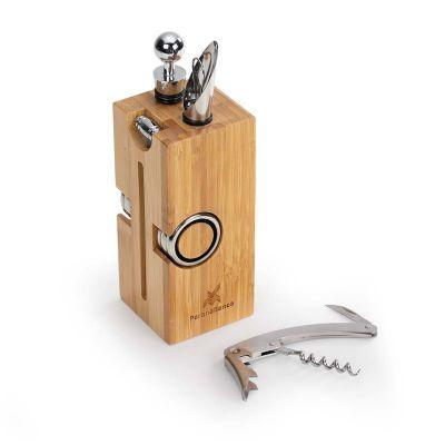 marca-laser - Cepo para vinho personalizado em bambu, contendo: 01 tampão, 01 direcionador, 02 corta gotas, 01 abridor saca-rolhas e 01 termômetro - Medidas: 70 x 7...
