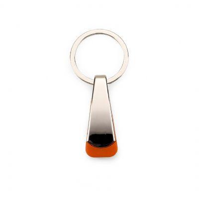 marca-laser - Chaveiro retangular personalizado em metal com detalhe emborrachado na cor laranja.