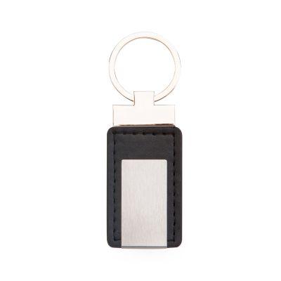 Marca Laser - Chaveiro retangular em couro sintético na cor preta com plaqueta de metal